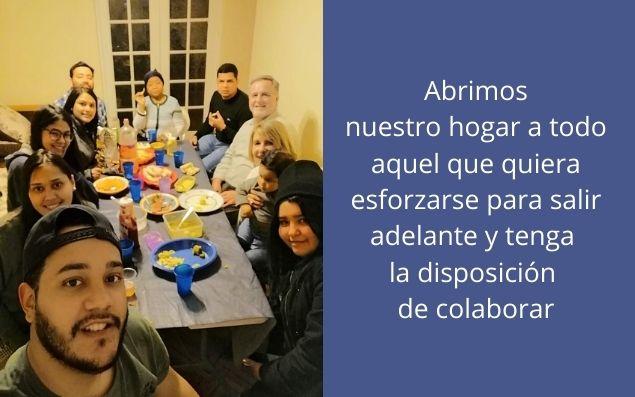 """Casa de acogida para inmigrantes Misión Divina Providencia en Santiago de Chile - Foto 3 - Texto en la imagen: """"Abrimos nuestro hogar a todo aquel que quiera esforzarse para salir adelante y tenga la disposición de colaborar""""."""
